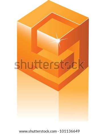 Abstract 3D Alphabet Letter S Cube Symbol Icon EPS 8 vector grouped for easy editing. - stock vector