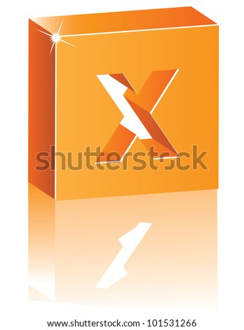 abstract 3d alphabet letter x