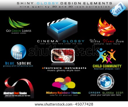 Abstract 2D and 3D Design Element Collection with colorful Shiny Icons - Set 7