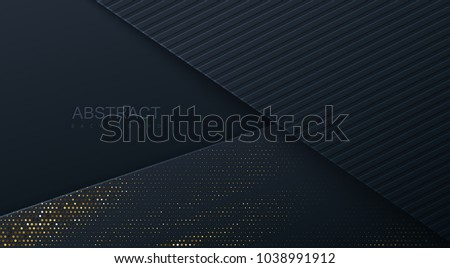Abstract 3d background with black paper layers. Vector geometric illustration of carbon sliced shapes textured with golden glittering dots. Graphic design element. Elegant decoration