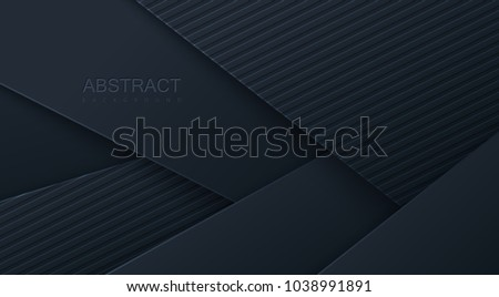 Abstract 3d background with black paper layers. Vector geometric illustration of carbon sliced and textured shapes. Graphic design element. Minimal design. Decoration for business presentation