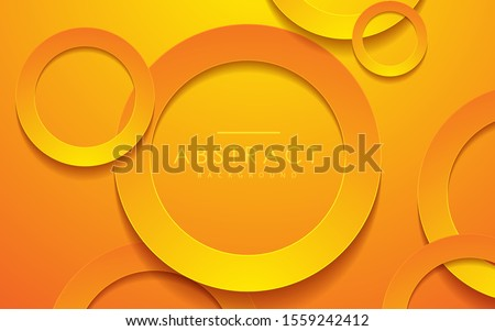 Abstract 3D circle papercut layer orange background