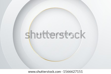 Abstract 3D circle papercut layer white background with gold line effect