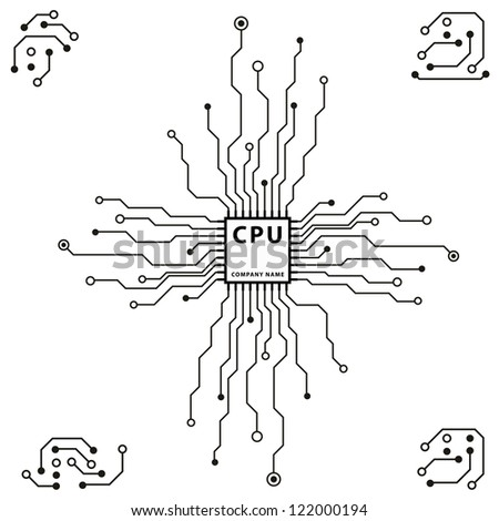 abstract 2d circuit board cpu design