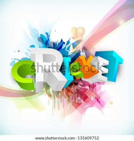 Abstract 3D colorful text Cricket on grungy wave background.