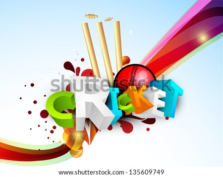 Abstract 3D colorful text Cricket with ball and stumps on wave background.
