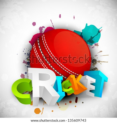 Abstract 3D colorful text Cricket with ball on grungy colorful background.