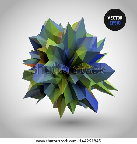 abstract 3d crystal on gradient