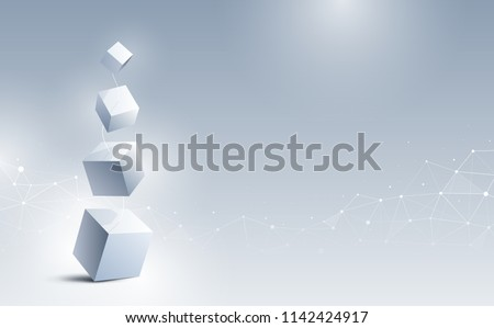 Abstract 3d cubes background. A connection of geometric cubes from big to small. Science and technology. Big data and Internet connection. Vector illustration.