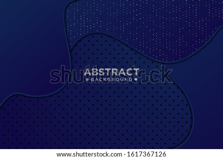 Abstract 3d dark blue wavy overlapping wavy shapes with glitter and dot design modern luxury futuristic technology background, vector illustration.