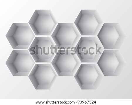 Abstract 3d decoration shelf on white wall