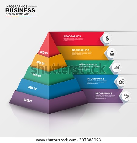 Abstract 3D digital business Infographic. Can be used for workflow process, business pyramid, banner, diagram, number options, work plan, web design.
