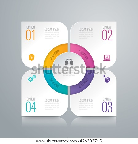 Abstract 3D digital illustration Infographic and marketing icons vector can be used for workflow layout, diagram, annual report, web design. Business concept with 4 options, steps or processes.