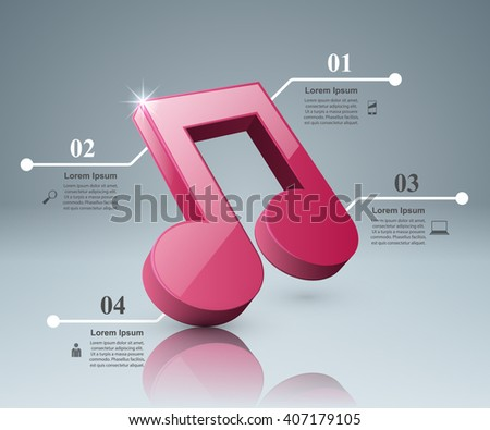 Abstract 3D digital illustration Infographic. Music icon.  Note icon.
