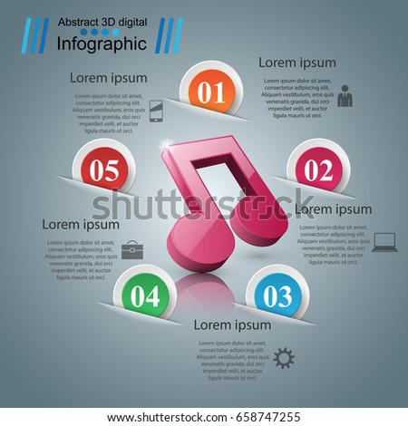 Abstract 3D digital illustration Infographic. Note icon. Music icon.