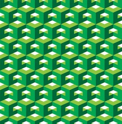 Abstract 3d geometric seamless pattern. Vector illustration. Green cubic template.