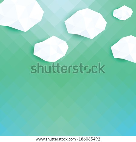 Abstract 3D geometric vector background with clouds. Retro pattern of geometric shapes. Colorful mosaic banner. Geometric background with place for your text. Retro triangle background. Vector eps10.