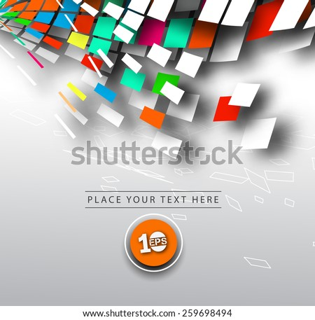 Abstract 3D Geometrical Mosaic Design, eps10 vector  #259698494