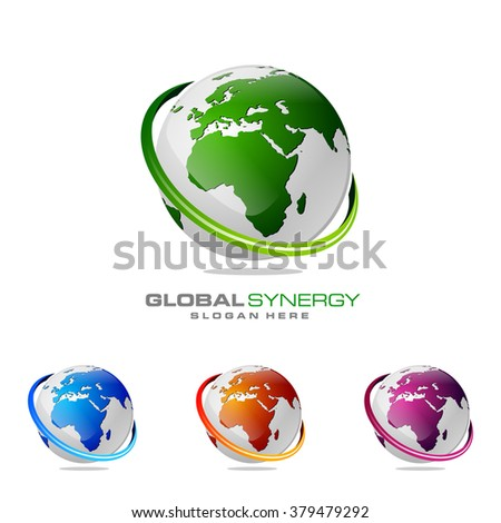 abstract 3d global logo with