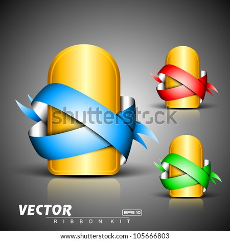 Abstract 3D glossy  golden icon sets with blue, green or red ribbons, isolated on grey with text space.EPS 10. can be use as icons, element, banner or background.