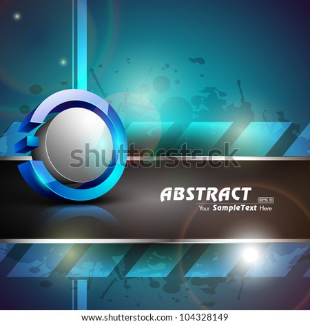 Abstract 3D glossy icon in blue and grey color on blue abstract grunge background with text space.EPS 10. can be use as icon, element, button or background.