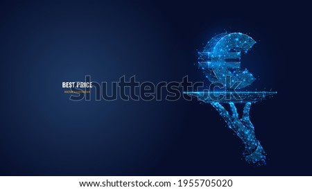 abstract 3d hand holding plate