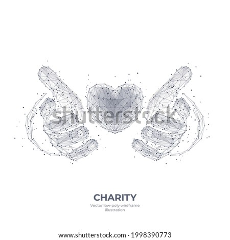 Abstract 3d human hands holding or giving heart symbol isolated in white. Charity, volunteering, social care concept. Digital low poly wireframe with  dots, lines and triangles. Vector sketch drawing  Foto stock ©