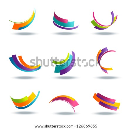Abstract 3d icon set with colorful ribbon elements