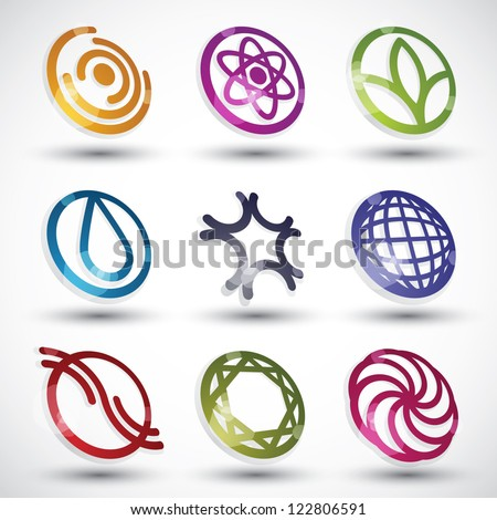 Abstract 3d icons vector set.