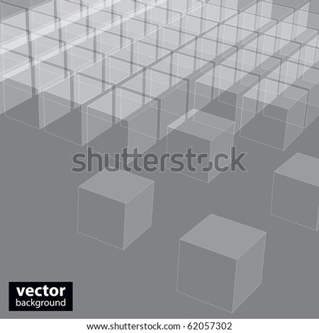 Abstract 3d illustration of cubes - stock vector