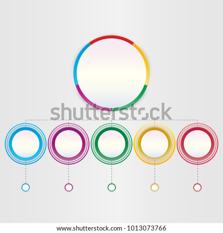 Abstract 3D infographic template with a five steps for success. Business circle template