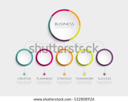 Abstract 3D infographic template with a five steps for success. Business circle template with options for brochure, diagram, workflow, timeline, web design. Vector EPS 10