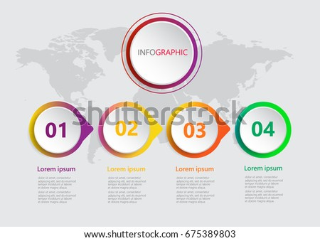 Abstract 3D infographic template with 4 step,Business circle,Can be used for workflow layout, diagram, banner, web design vector