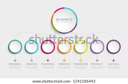 Abstract 3D Infographic Template with 7 steps for success. Business circle template with options for brochure, diagram, workflow, timeline, web design. Vector EPS 10