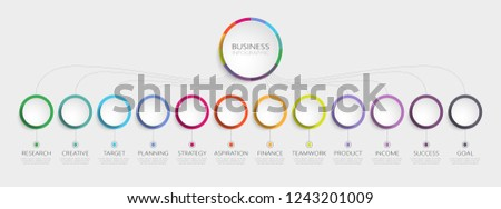 Abstract 3D Infographic Template with 12 steps for success. Business circle template with options for brochure, diagram, workflow, timeline, web design. Vector EPS 10 ストックフォト ©
