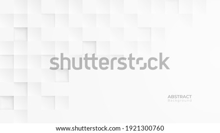 Abstract 3d modern square background. White and grey geometric pattern texture. vector art illustration