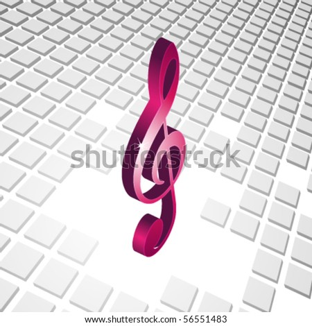 abstract 3D music clef background with 3d cubes - stock vector