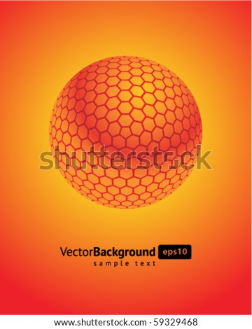 Abstract 3d orange honeycomb sphere vector background - stock vector