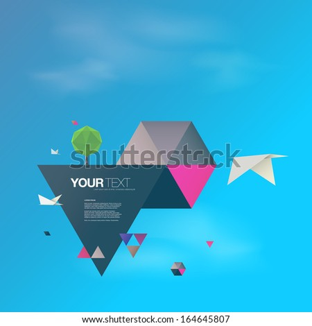 abstract 3d origami world with