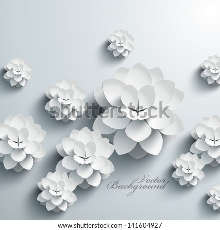 stock vector abstract d paper lotus 141604927 - Каталог — Фотообои «Цветы»