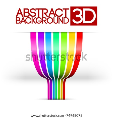 Abstract 3d rainbow colorful stripes vector background #74968075