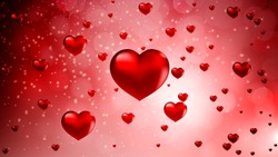 abstract 3d red hearts on bokeh background