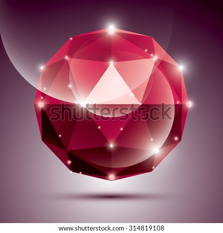 Abstract 3D red shiny sphere with sparkles, ruby glossy orb created from triangles, eps10.