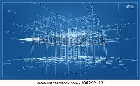 Abstract 3D render of building wireframe structure. Vector construction graphic idea. Stockfoto ©