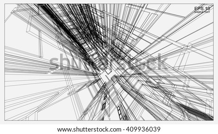 abstract 3d render of building wireframe structure vector