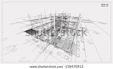 Abstract 3D render of building wireframe structure. Vector construction graphic idea.