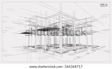 abstract 3d render of building...