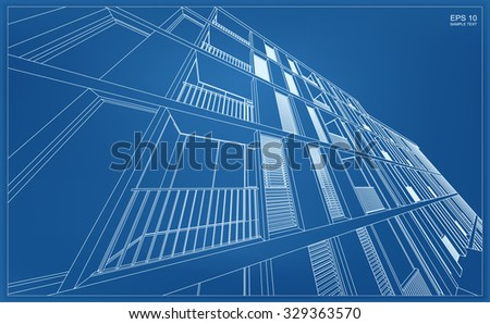 abstract 3d render of building