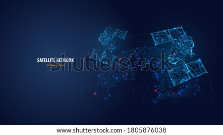 Abstract 3d satellites in space. Global internet communications, satellite network concept. Vector mesh illustration of satellites and Earth looks like starry sky. Low poly wireframe isolated in blue