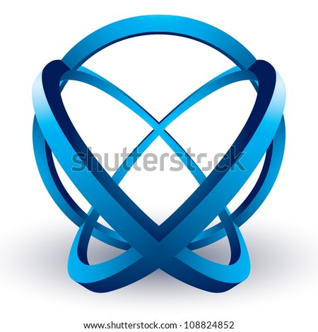 Abstract 3d shape, abstract vector symbol.